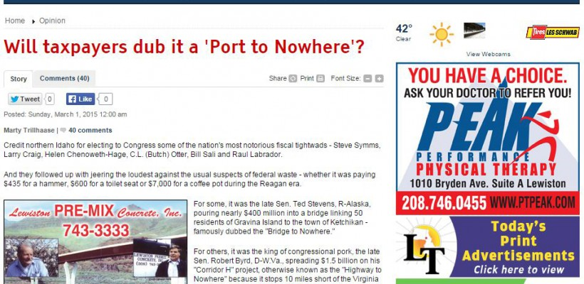 Lewiston Tribune wonders: Will taxpayers dub the Port of Lewiston a Port to Nowhere?