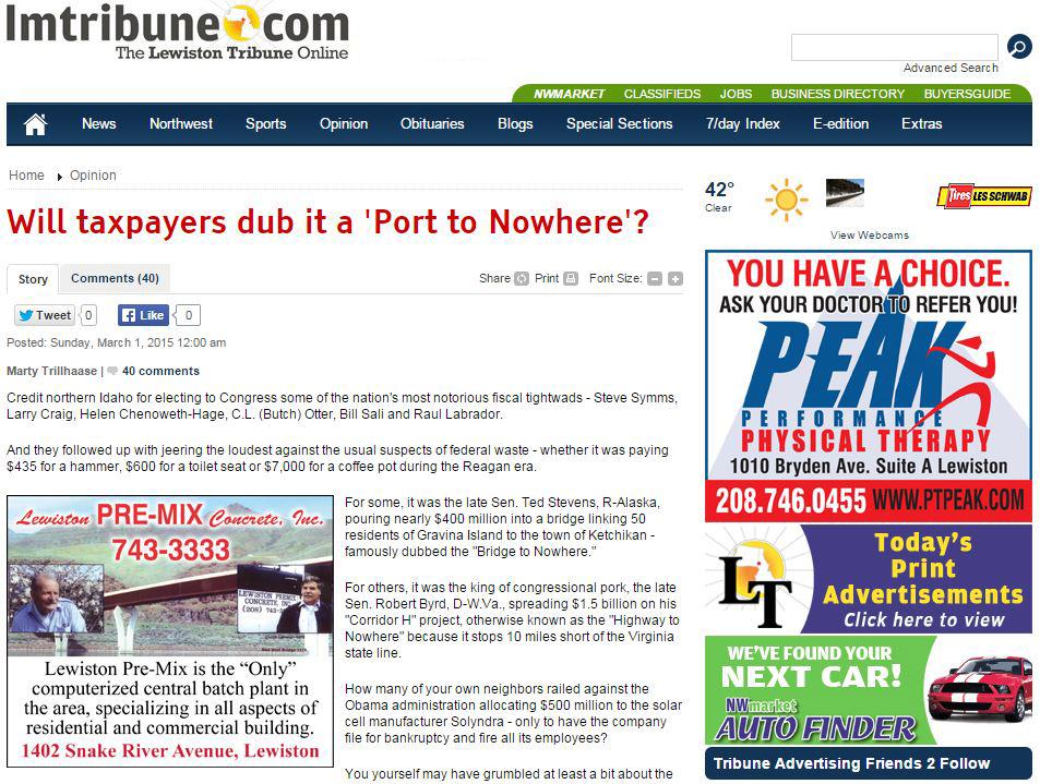 Lewiston Tribune wonders: Will taxpayers dub the Port of Lewiston a Port to Nowhere?