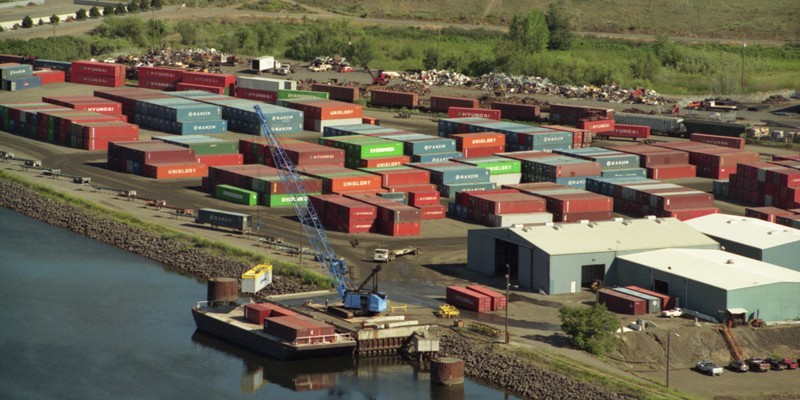 The Port of Lewiston had provided the only containerized freight on the lower Snake River. The Port announced today that it was suspending 100 percent of its container business. Photo credit: Port of Lewiston.
