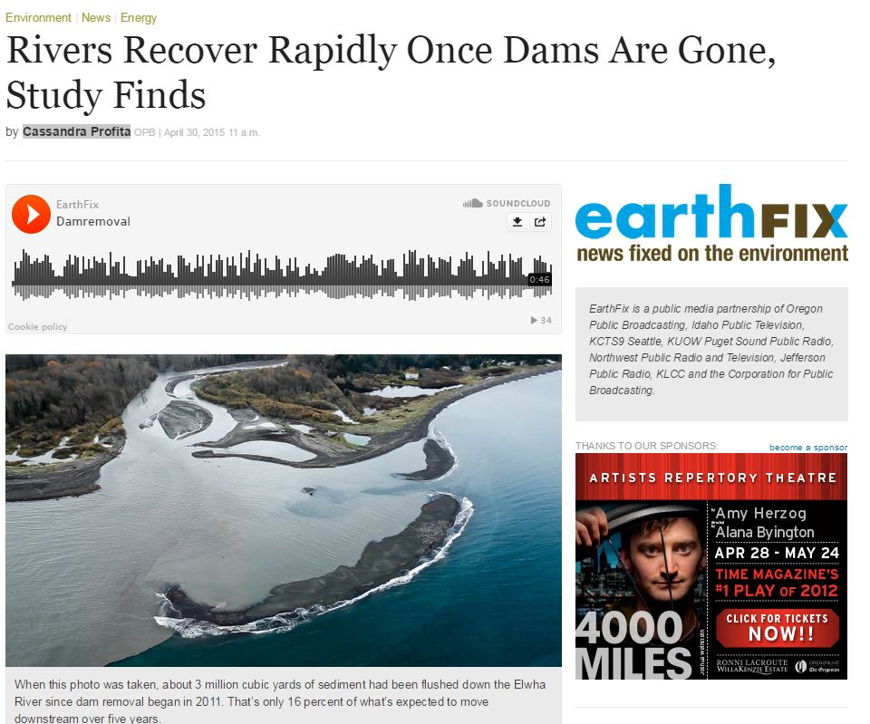 Study finds rivers recover very fast when dams are removed